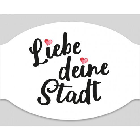 """Papier-Einwegmaske """"Liebe Deine Stadt Herzchen"""""""