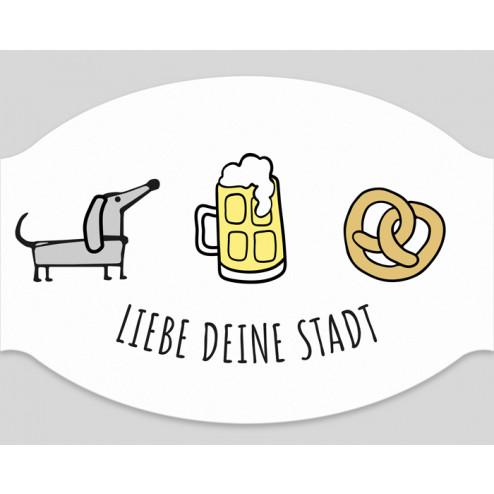 """Papier-Mundschutz - """"Liebe Deine Stadt - Bayern"""""""