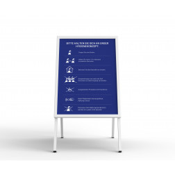 Kundenstopper - mit Plakat blau