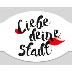 """Papier-Einwegmaske """"Liebe Deine Stadt"""""""